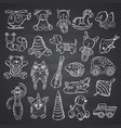 kkid toys set hand drawn and isolated on black vector image vector image