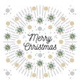Merry Christmas lettering and elegant frame Line vector image vector image