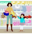 Mother and daughter in children shop vector image