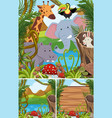 nature scenes with many animals in forest vector image vector image
