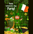 patricks day leprechaun and ireland flag vector image vector image