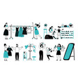 people in boutique person buy clothes choosing vector image