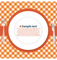 plate on the tablecloth vector image vector image