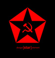 red star with socialist symbols on black vector image vector image
