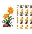 seamless background design with orange gerbera vector image