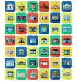 set flat city buildings and shops vector image