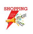 shopping special offer megaphone flash sale backgr vector image