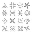 shuriken line icon set vector image