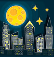 silhouette of night city vector image