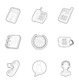Support icons set outline style vector image vector image