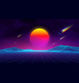 synth wave retro city landscape background sunset vector image vector image