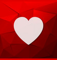the red background with a white heart vector image vector image