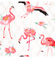 tropical flamingo seamless summer pattern flowers vector image vector image