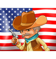 US flag and cowboy vector image vector image