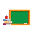 Blank blackboard with books and apple vector image