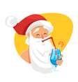 cartoon style of Santa with cocktail vector image