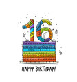 16th anniversary celebration greeting card vector image vector image