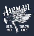 axeman ax flying axe with wings lumberjack print vector image vector image