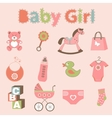 Baby girl related elements collection vector image