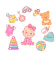 badesign template cute little bagirl vector image vector image