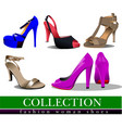 big collection of fashion woman pink shoes vector image vector image