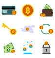 bitcoin financial related graphic icon set vector image