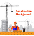 builder builds brick wall of house worker or vector image vector image