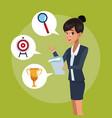 businesswoman executive cartoon vector image vector image