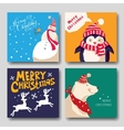 card with Christmas reindeer snowman penguin vector image
