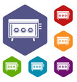 cd changer icons set hexagon vector image vector image