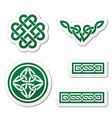 Celtic green knots braids and patterns vector image vector image