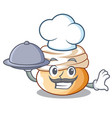 chef with food semla swedish cream bun on cartoon vector image