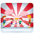 Children jumping rope together vector image