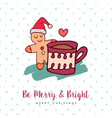 christmas cute gingerbread man holiday cartoon vector image vector image