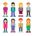 colourful set of pixel art style characters vector image vector image