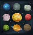 comic planets set on space background vector image