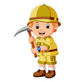 cute hiker holding axe vector image vector image
