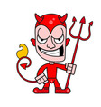 cute little devil with horns and a flaming vector image