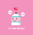 cute milk carton cartoon character with smile vector image