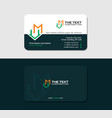 dark green business card with letter m and mansion vector image vector image