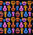 day dead watercolor skull seamless pattern vector image