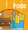 delicious food on colorful background vector image