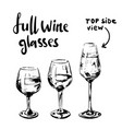 different full wine glasses vector image vector image