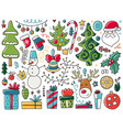 doodles christmas elements color items with new vector image vector image