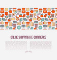 e-commerce shopping concept with thin line icons vector image vector image