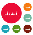 equalizer technology icons circle set vector image vector image