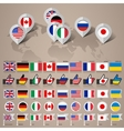 G8 flags with map big set vector image