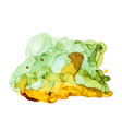 green shades watercolor background wet liquid ink vector image vector image