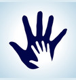 hand in hand in white and blue idea of help vector image vector image