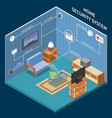 home security isometric background vector image vector image